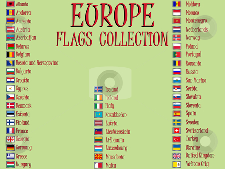 Europe flags collection stock vector clipart, Europe flags collection against green background, abstract vector art illustration by Laschon Robert Paul