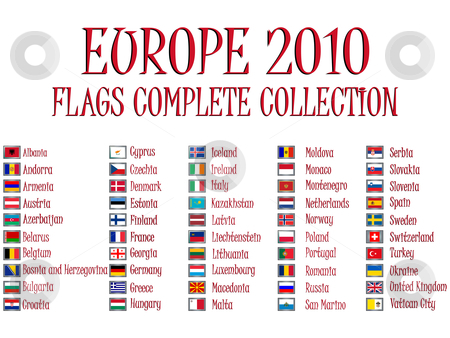 Europe 2010 flags stock vector clipart, Europe 2010 flags collection against white background, abstract vector art illustration by Laschon Robert Paul