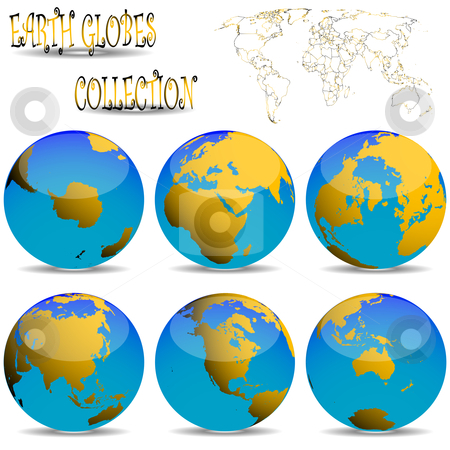 Earth globes against white stock vector clipart, Earth globes against white background, abstract vector art illustration by Laschon Robert Paul