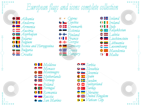 European flags collection stock vector clipart, European flags and icons collection in alphabetical order, abstract vector art illustration by Laschon Robert Paul