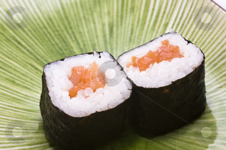Japanese sushi on a plate  stock photo, Japanese sushi on a plate for background by Keng po Leung