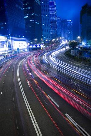 Traffic in city at night in hong kong stock photo, Traffic in city at night in hong kong by Keng po Leung