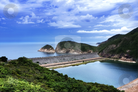 Landscape  stock photo, Blue sky and sea with mountains in hong kong by Keng po Leung