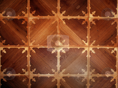 Parquet floor stock photo, Detial of ornamental wooden pattern parquet floor by Tomas Hajek