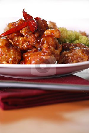 General Tso's stock photo, Spicy General Tso's with rice by HD Connelly