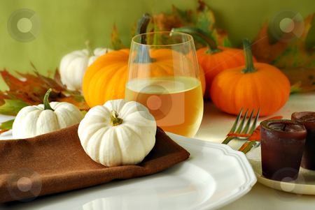 Autumn dinner stock photo, Autumn still life with wine and dinnerware by HD Connelly