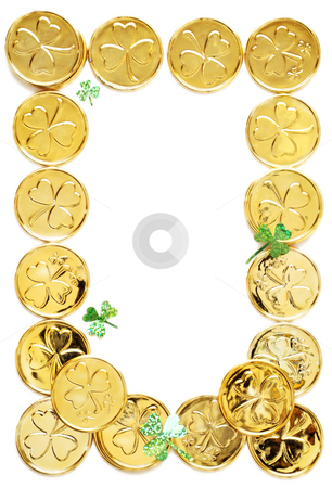 St patricks day coins stock photo, Frame of gold coins and shamrocks by HD Connelly