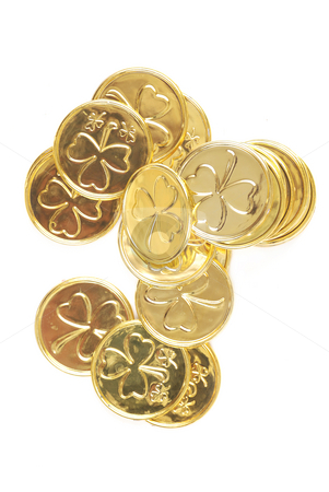 St patricks day coins stock photo, Gold coins with shamrocks - isolated on white by HD Connelly