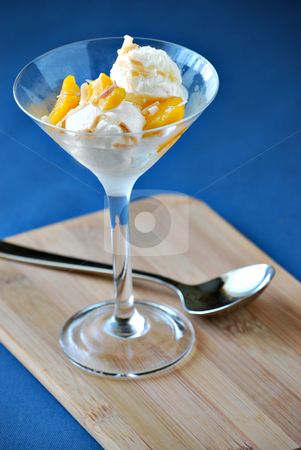 Coconut gelato stock photo, Coconut gelato with fresh mango by HD Connelly