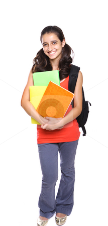 School Girl with backpack and books stock photo, School Girl holding books and backpack by Gevorg Gevorgyan