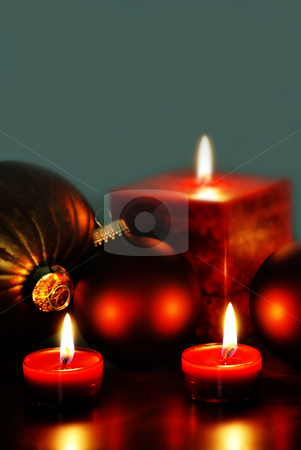 Christmas stock photo, Christmas ornaments and candles by HD Connelly