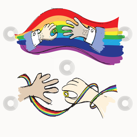 Gay marriage stock vector clipart, Hand drawn sketches of hands - gay wedding concepts by HD Connelly