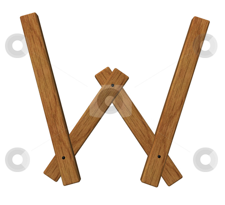 Wooden w stock photo, Wooden uppercase letter w on white background - 3d illustration by J?