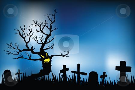 Halloween night stock vector clipart, Halloween night illustrations, vector format, evil tree in cemetery. by Mtkang