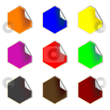 Fresh hexagon labels stock vector clipart, Fresh hexagon labels, vector art illustration by Laschon Robert Paul
