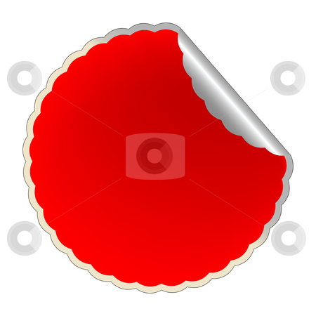 Flowerish red label stock vector clipart, Flowerish red label, vector art illustration by Laschon Robert Paul