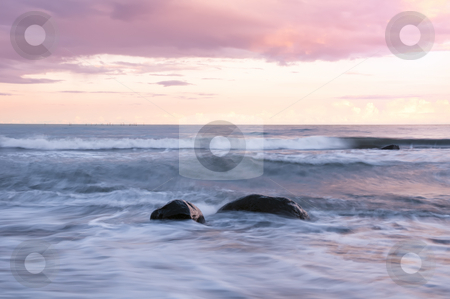 Rocks in the surf stock photo, Surf at the beach of the island Moen in Denmark. by Kai Schirmer