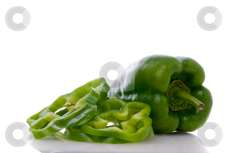 Green pepper stock photo, Green pepper on white background close up isolated on white background. by Homydesign