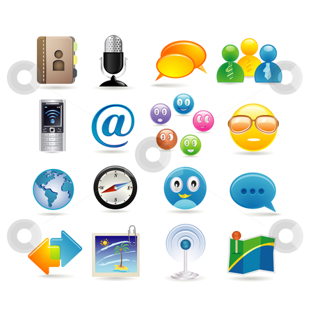 Social media icon set stock vector clipart, Social media icon set by Ika