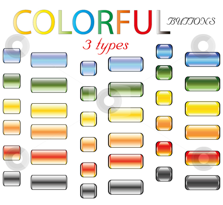 Colored glossy buttons in retro style stock vector clipart, Colored glossy buttons in retro style shiny blank by Fotosutra.com