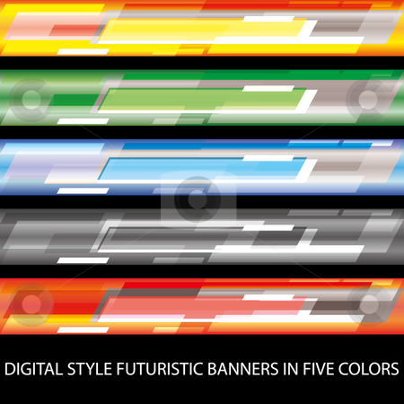 Digital style futuristic banners in five colors stock vector clipart, Digital style futuristic banners in five colors eps 10 by Fotosutra.com 