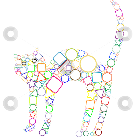 Geometric cat stock vector clipart, Geometric cat, abstract art illustration by Laschon Robert Paul