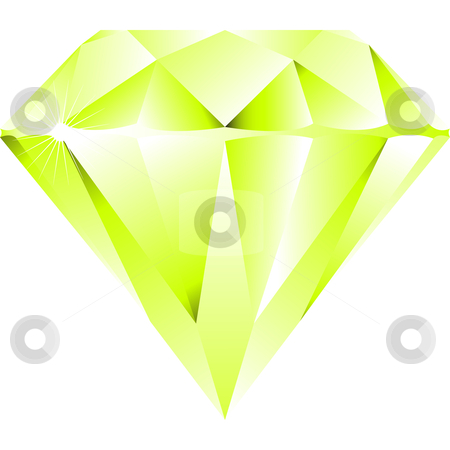 Green diamond isolated on white stock vector clipart, Green diamond isolated on white background, abstract vector art illustration by Laschon Robert Paul