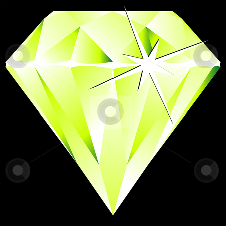 Green diamond against black stock vector clipart, Green diamond against black background, abstract vector art illustration by Laschon Robert Paul