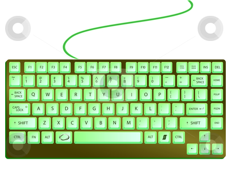 Green shiny keyboard stock vector clipart, Green shiny keyboard against white background, abstract vector art illustration by Laschon Robert Paul