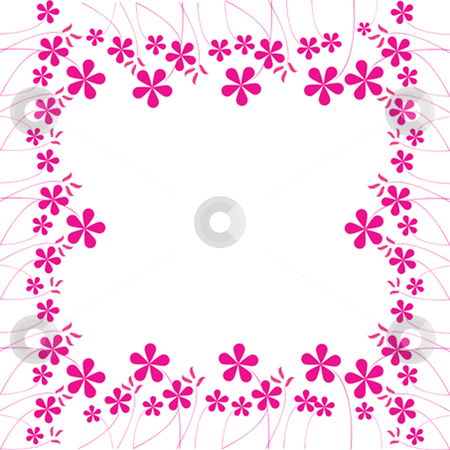 Pink flowers foliage stock vector clipart, Pink flowers foliage with space for text, vector art illustration by Laschon Robert Paul