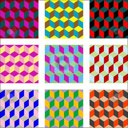 Nine different versions of psychedelic patterns stock vector clipart, Nine different versions of psychedelic patterns, vector art illustration; easy to change colors by Laschon Robert Paul