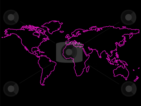 Purple world map outlines over black stock vector clipart, Purple world map outlines over black background, abstract art illustration by Laschon Robert Paul