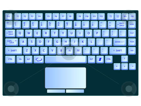 Laptop blue keyboard against white stock vector clipart, Laptop blue keyboard against white background, abstract vector art illustration by Laschon Robert Paul