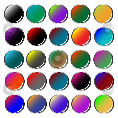 Round colored web buttons stock vector clipart, Round colored web buttons isolated on white background, abstract vector art illustration by Laschon Robert Paul