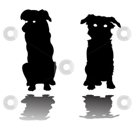 Two little dogs silhouettes stock vector clipart, Two little dogs silhouettes, vector art  illustration by Laschon Robert Paul