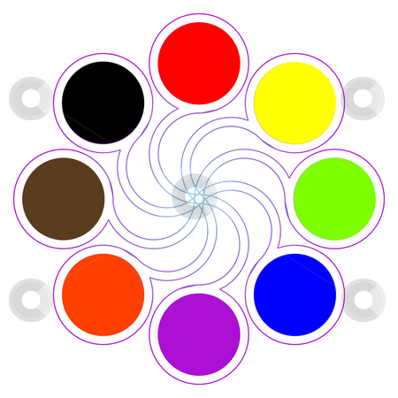 Round color palette with eight basic colors stock vector clipart, Round color palette with eight basic colors isolated on white; abstract art illustration by Laschon Robert Paul