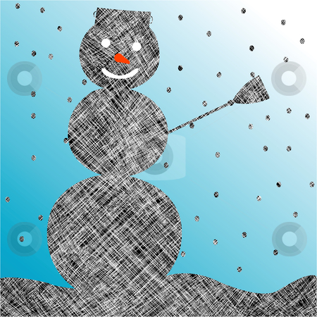 Striped snow man stock vector clipart, Striped snow man, abstract art illustration by Laschon Robert Paul