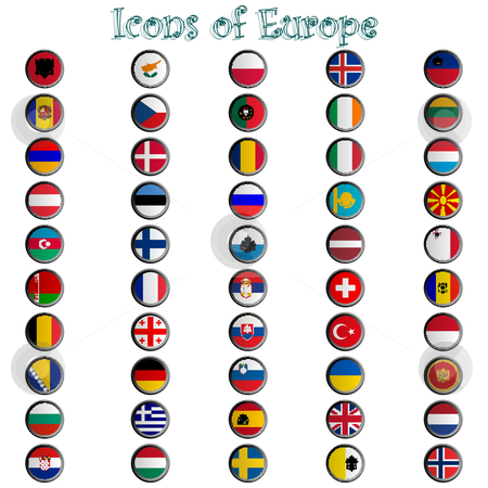 Icons of europe complete collection stock vector clipart, Icons of europe complete collection, metallic symbols against white background; abstract vector art illustration by Laschon Robert Paul