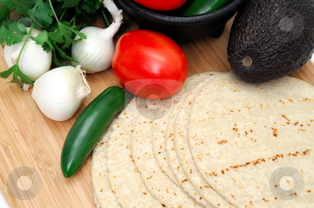 Spicy Food Concept stock photo, Assorted ingredients for the start of a spicy meal including fresh tortillas, Serrano chili, tomato, cilantro and avocado by Lynn Bendickson