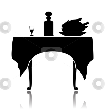 Restaurant little table stock vector clipart, Silhouette of a restaurant little table with the laid cloth, a wine-glass, a shtof and a dish with a roast chicken. by Liubov Nazarova