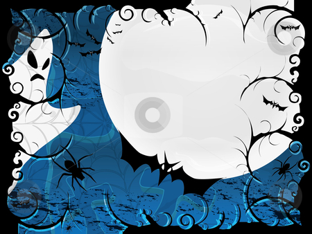 Halloween card or background in blue design stock vector clipart, Halloween card or background in blue design by fotosutra
