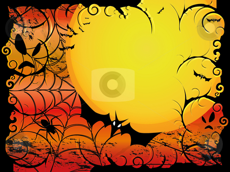 Halloween card or background in orange and red design stock vector clipart, Halloween card or background in orange and red design by fotosutra