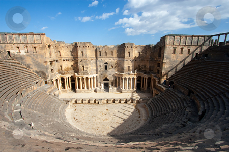 Theater of Bosra, Syria stock photo, Theater of Bosra, Syria by B.F.