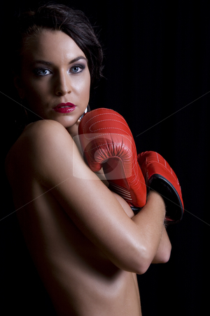 Nude boxer stock photo, Young twenty something women hiding her body with ...