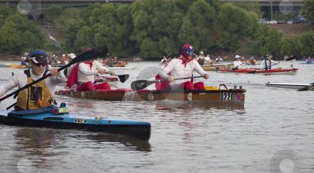 MIssouri River 340 Race stock photo, KANSAS CITY, KS - AUGUST 24: Kayaks and canoes at the start of 5th Missouri River 340 Race, August 24, 2010, at Kaw Point (confluence of Missouri and Kansas Rivers) by Marek Uliasz