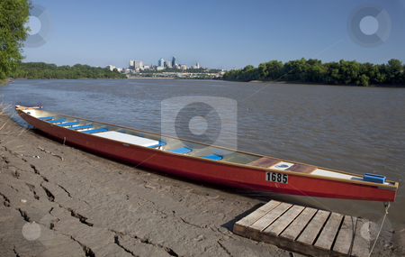 Guinness record dragon boat stock photo, KANSAS CITY, KS - AUGUST 23: 20 person, Guinness record winning, dragon boat at muddy shore, day before  the start of 5th Missouri River 340 Race, August 23, 2010, at Kaw Point (confluence of Missouri and Kansas Rivers). by Marek Uliasz