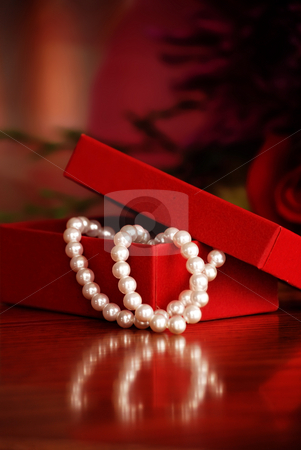 Gift stock photo, Red box with pearls - valentines day gift by HD Connelly