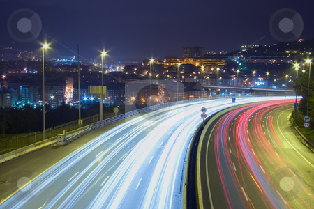 Trails of vehicles in Bilbao, Bizkaia, Spain stock photo, Trails of vehicles in Bilbao, Bizkaia, Spain by B.F.