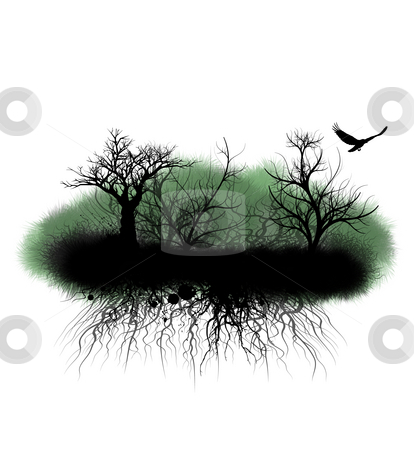 Grungy Trees and Roots stock photo, Grunge island of trees and tangled brambles isolated on white by Leslie Murray