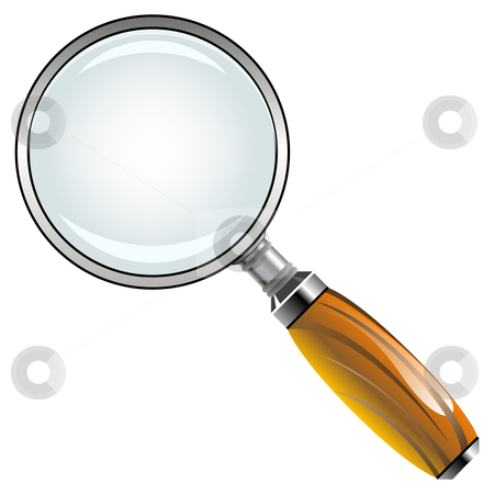 Magnifying glass with wooden handle stock vector clipart, Magnifying glass with wooden handle against white background, abstract vector art illustration by Laschon Robert Paul